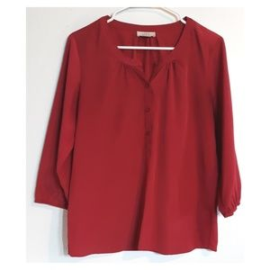 Loft factory red 3/4 sleeve chiffon button blouse